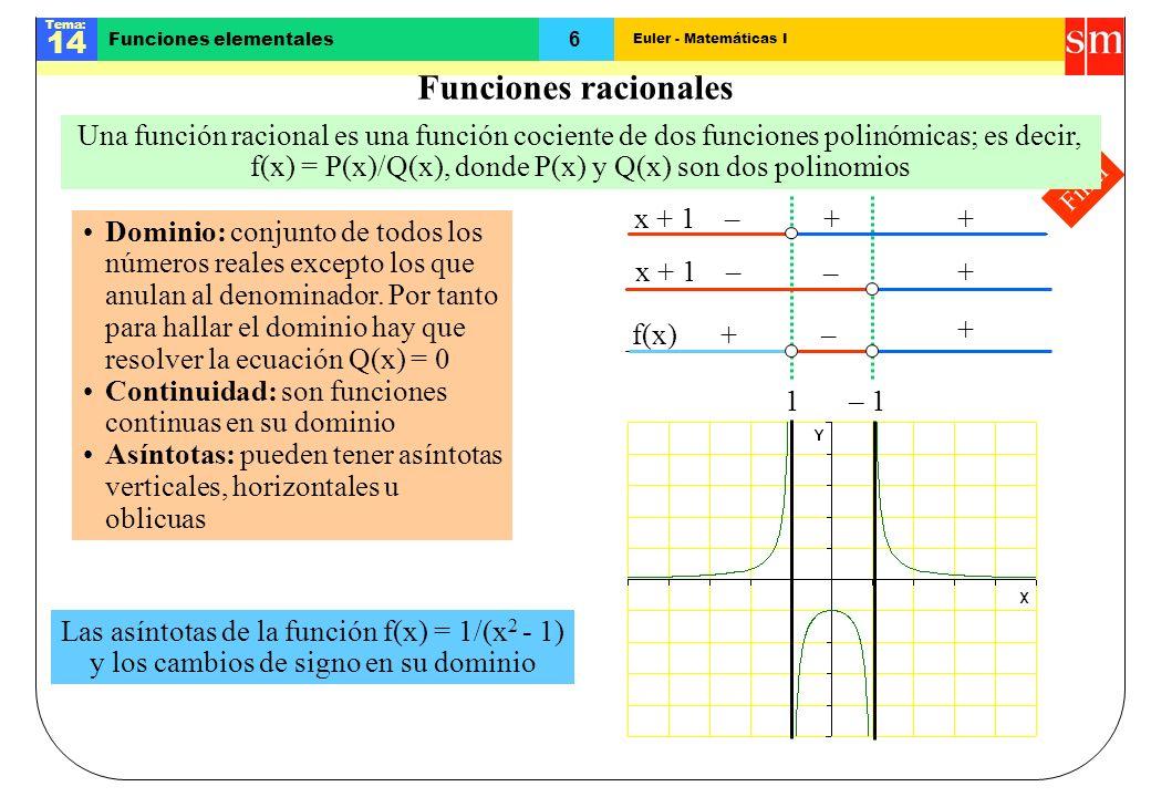 Euler - Matemáticas I Tema: 14 6 Funciones elementales – 1 1 Final Funciones racionales Una función racional es una función cociente de dos funciones