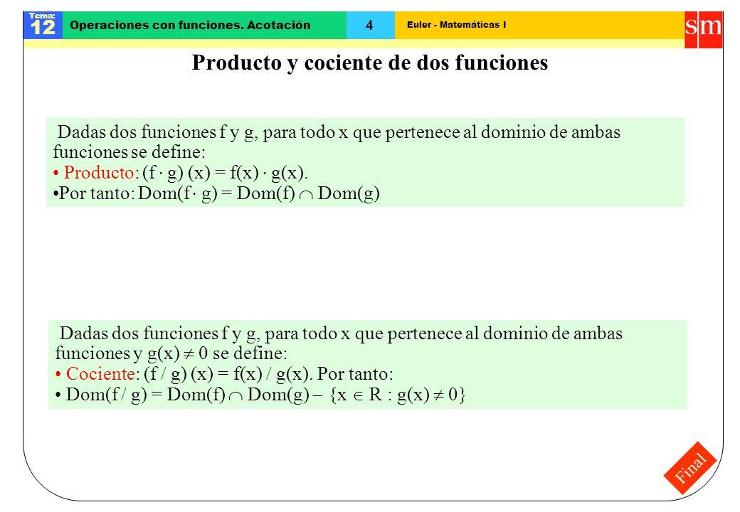 Euler - Matemáticas I Tema: 12 4 Operaciones con funciones. Acotación Final Producto y cociente de dos funciones Dadas dos funciones f y g, para todo
