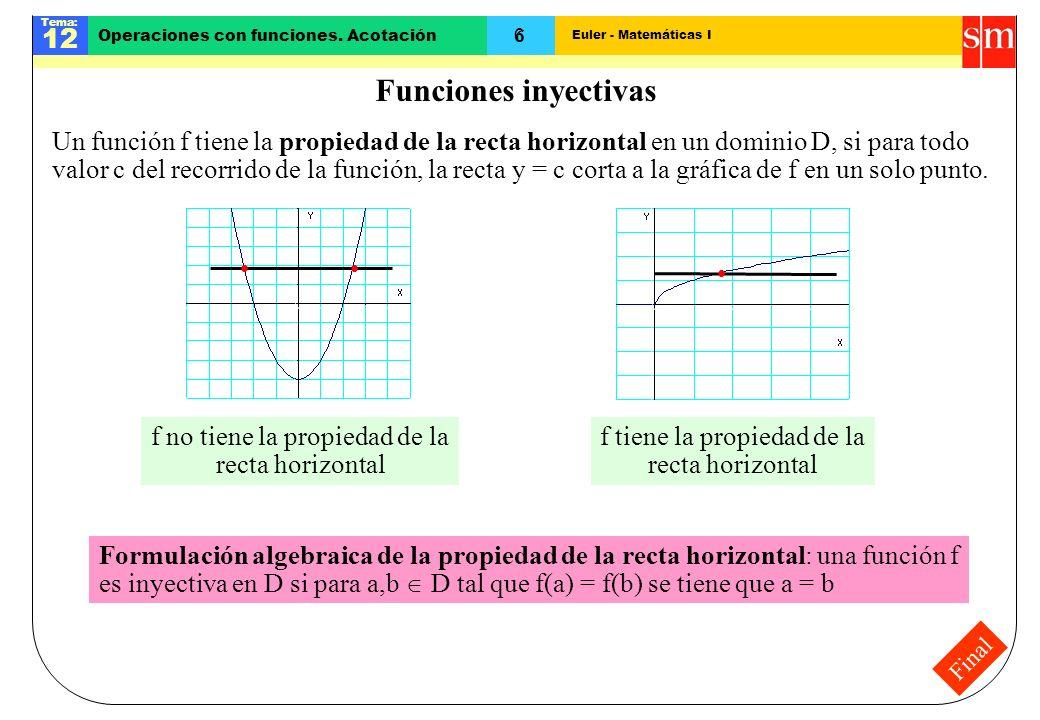 Euler - Matemáticas I Tema: 12 6 Operaciones con funciones. Acotación Final Funciones inyectivas Un función f tiene la propiedad de la recta horizonta