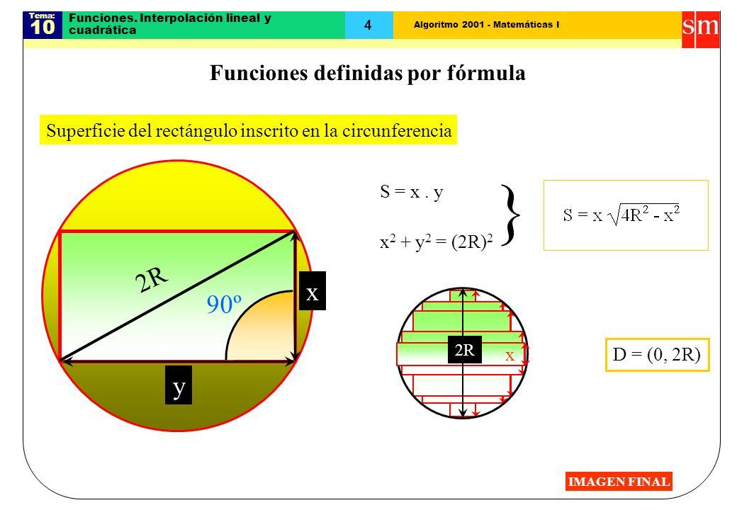 Algoritmo 2001 - Matemáticas I Tema: 10 4 Funciones. Interpolación lineal y cuadrática Superficie del rectángulo inscrito en la circunferencia 2R S =