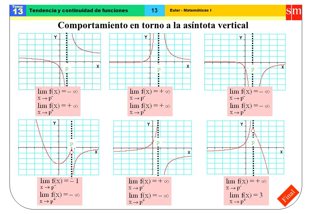 Euler - Matemáticas I Tema: 13 Tendencia y continuidad de funciones Final Comportamiento en torno a la asíntota vertical ppp ppp