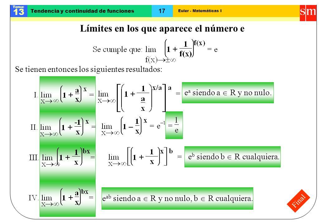 Euler - Matemáticas I Tema: 13 17 Tendencia y continuidad de funciones Final Límites en los que aparece el número e Se tienen entonces los siguientes