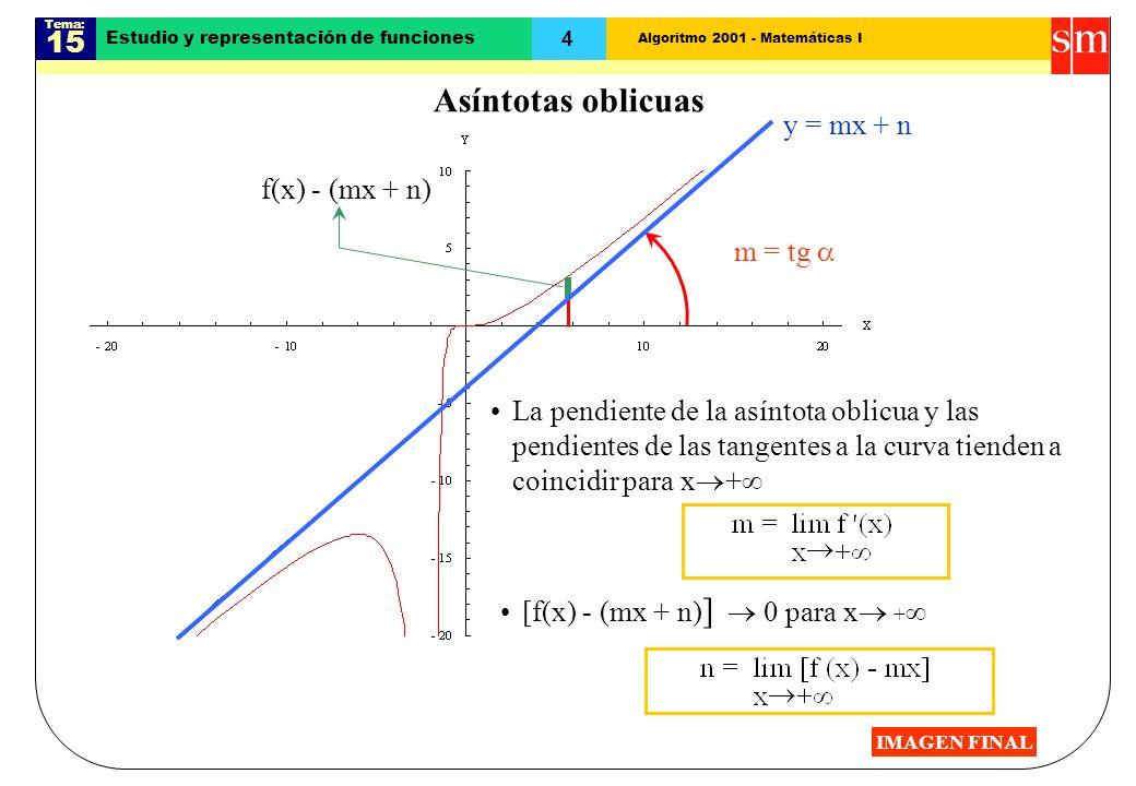 Algoritmo 2001 - Matemáticas I Tema: 15 4 Estudio y representación de funciones La pendiente de la asíntota oblicua y las pendientes de las tangentes a la curva tienden a coincidir para x + m = tg [f(x) - (mx + n) ] 0 para x + f(x) - (mx + n) y = mx + n Asíntotas oblicuas IMAGEN FINAL