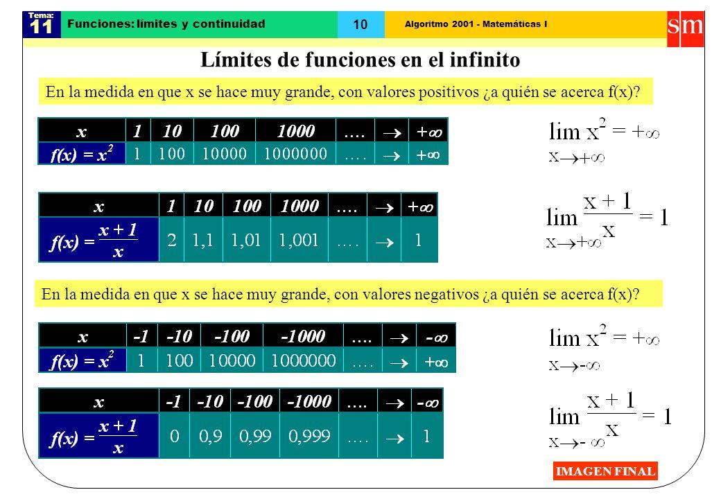 Algoritmo 2001 - Matemáticas I Tema: 11 10 Funciones: límites y continuidad En la medida en que x se hace muy grande, con valores positivos ¿a quién s