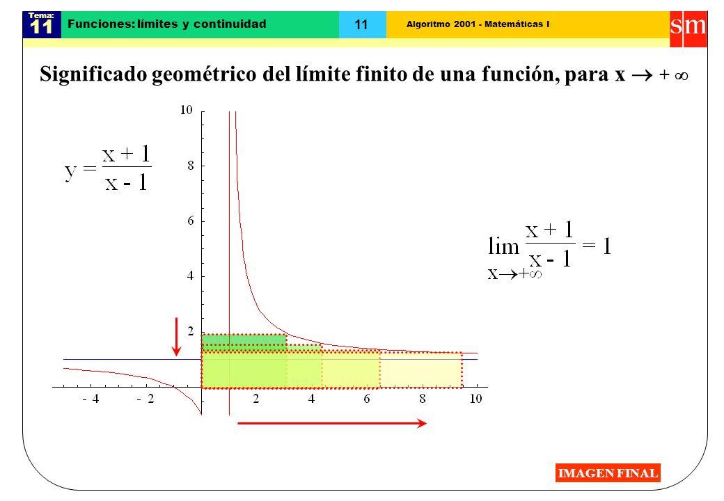 Algoritmo 2001 - Matemáticas I Tema: 11 Funciones: límites y continuidad Significado geométrico del límite finito de una función, para x + IMAGEN FINA