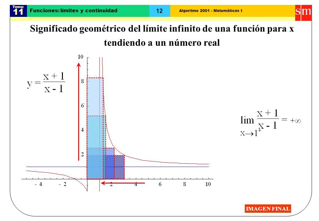 Algoritmo 2001 - Matemáticas I Tema: 11 12 Funciones: límites y continuidad Significado geométrico del límite infinito de una función para x tendiendo