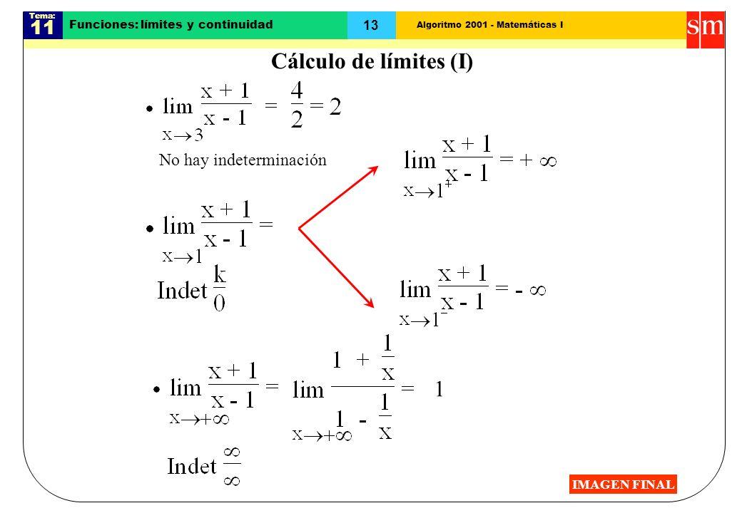 Algoritmo 2001 - Matemáticas I Tema: 11 13 Funciones: límites y continuidad 1 No hay indeterminación Cálculo de límites (I) IMAGEN FINAL