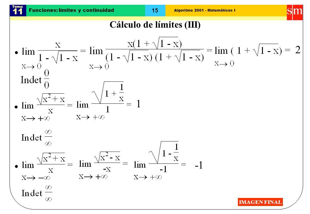 Algoritmo 2001 - Matemáticas I Tema: 11 15 Funciones: límites y continuidad 2 1 Cálculo de límites (III) IMAGEN FINAL