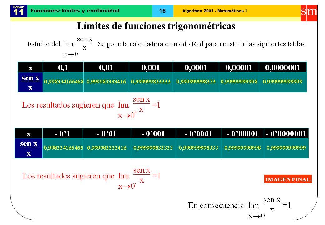 Algoritmo 2001 - Matemáticas I Tema: 11 16 Funciones: límites y continuidad Límites de funciones trigonométricas IMAGEN FINAL