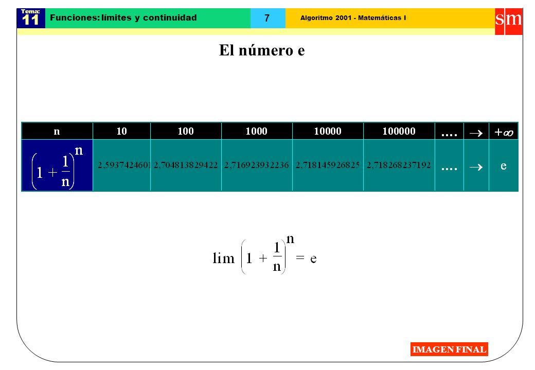 Algoritmo 2001 - Matemáticas I Tema: 11 7 Funciones: límites y continuidad El número e IMAGEN FINAL