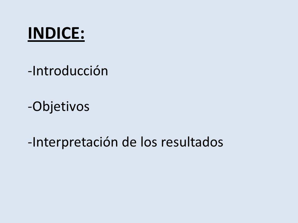 INDICE: -Introducción -Objetivos -Interpretación de los resultados