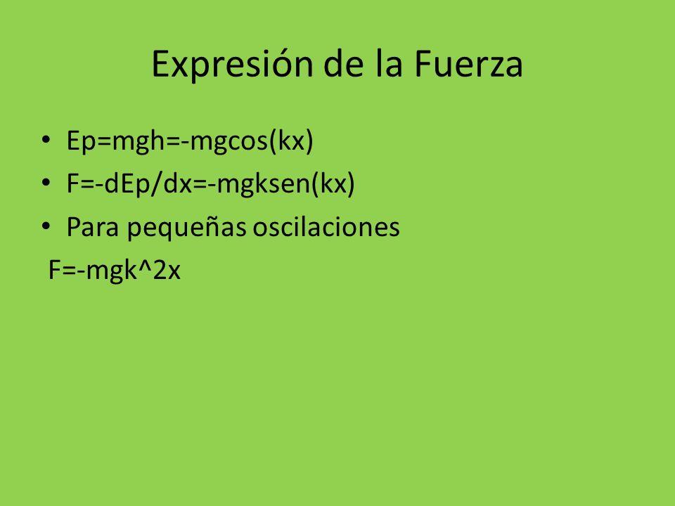 Expresión de la Fuerza Ep=mgh=-mgcos(kx) F=-dEp/dx=-mgksen(kx) Para pequeñas oscilaciones F=-mgk^2x