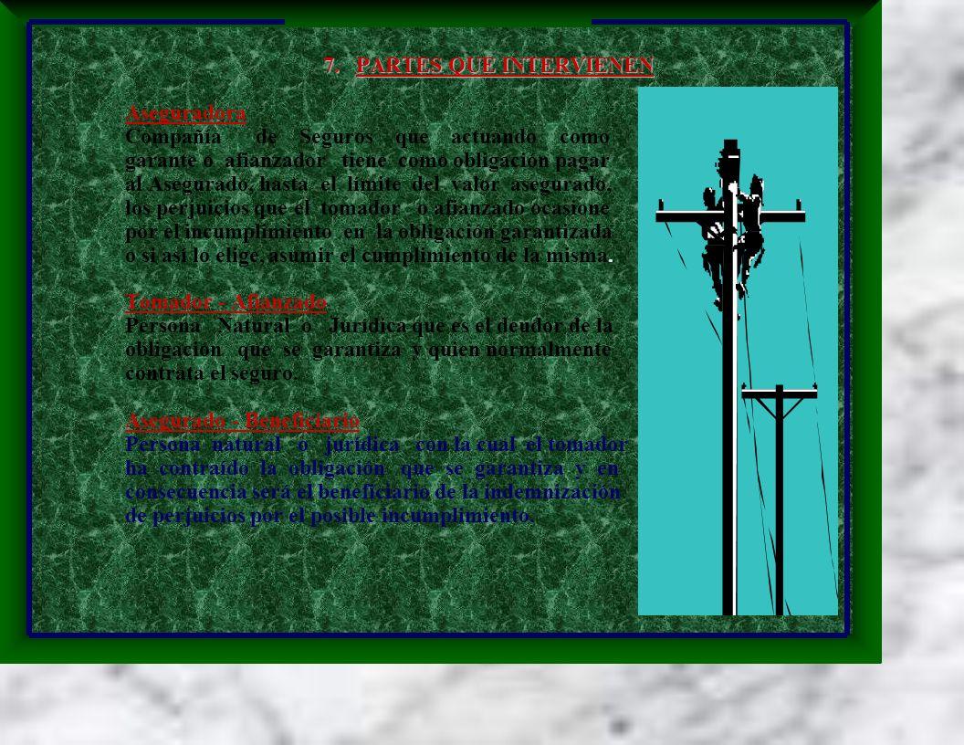 7. PARTES QUE INTERVIENEN Aseguradora Compañía de Seguros que actuando como garante o afianzador tiene como obligación pagar al Asegurado, hasta el lí