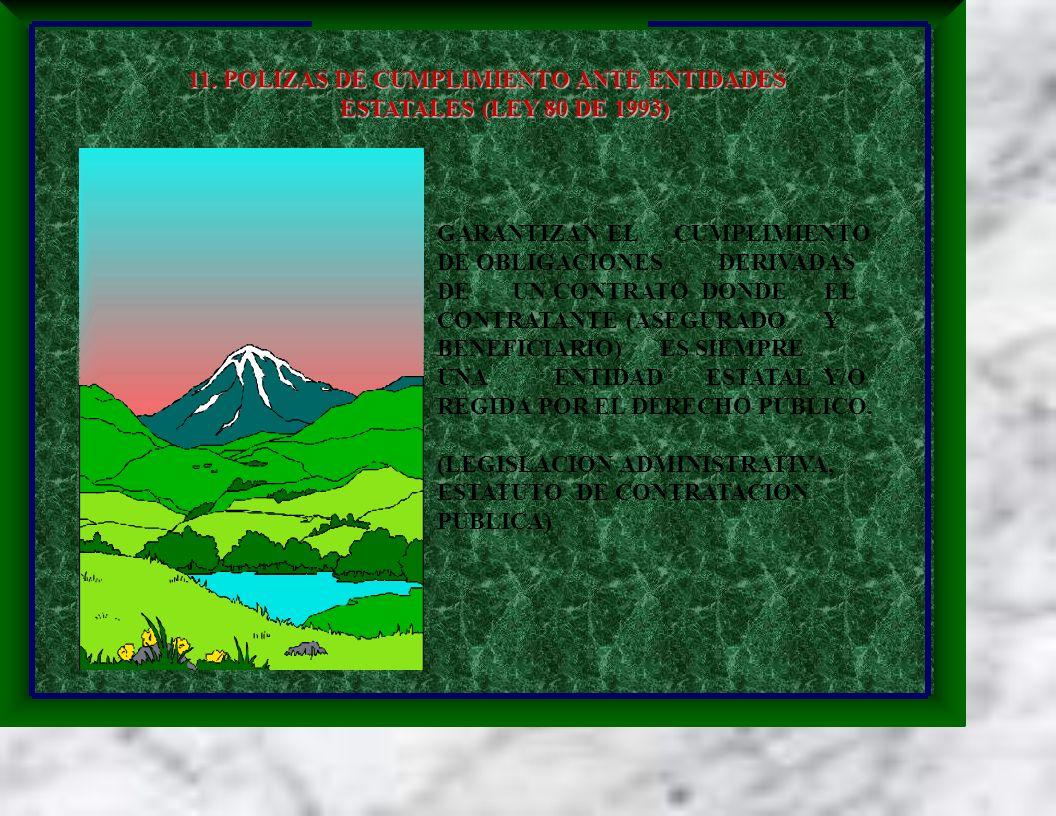 11. POLIZAS DE CUMPLIMIENTO ANTE ENTIDADES ESTATALES (LEY 80 DE 1993) ESTATALES (LEY 80 DE 1993) GARANTIZAN EL CUMPLIMIENTO DE OBLIGACIONES DERIVADAS