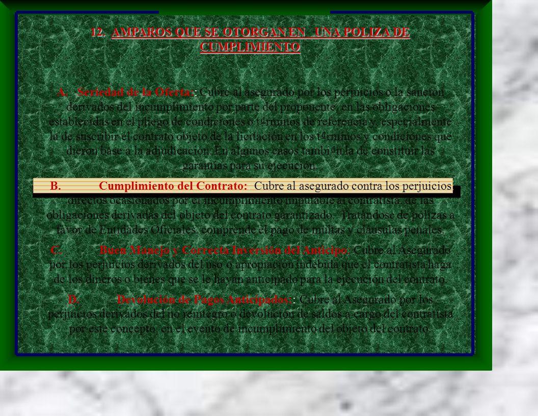 A. Seriedad de la Oferta:: Cubre al asegurado por los perjuicios o la sanción derivados del incumplimiento por parte del proponente, en las obligacion
