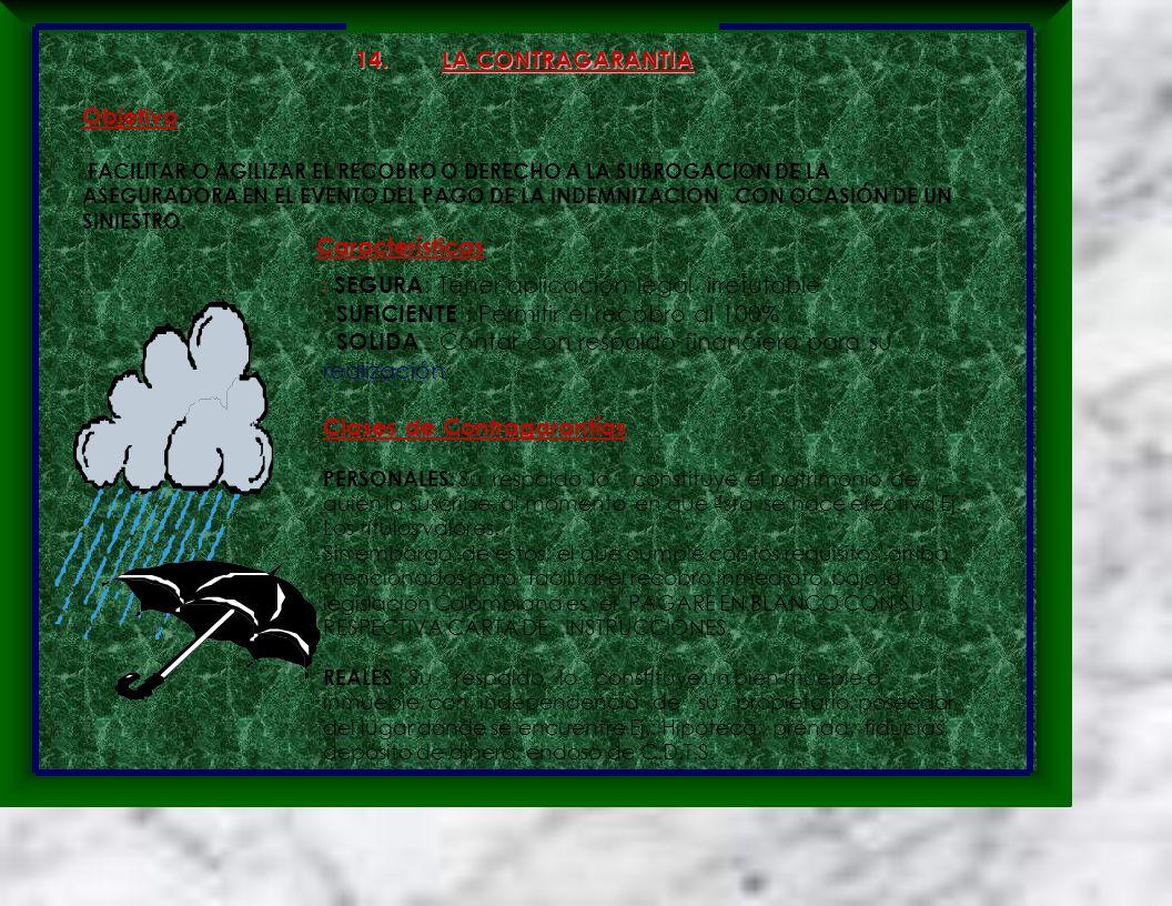 14. LA CONTRAGARANTIA Objetivo FACILITAR O AGILIZAR EL RECOBRO O DERECHO A LA SUBROGACION DE LA ASEGURADORA EN EL EVENTO DEL PAGO DE LA INDEMNIZACION