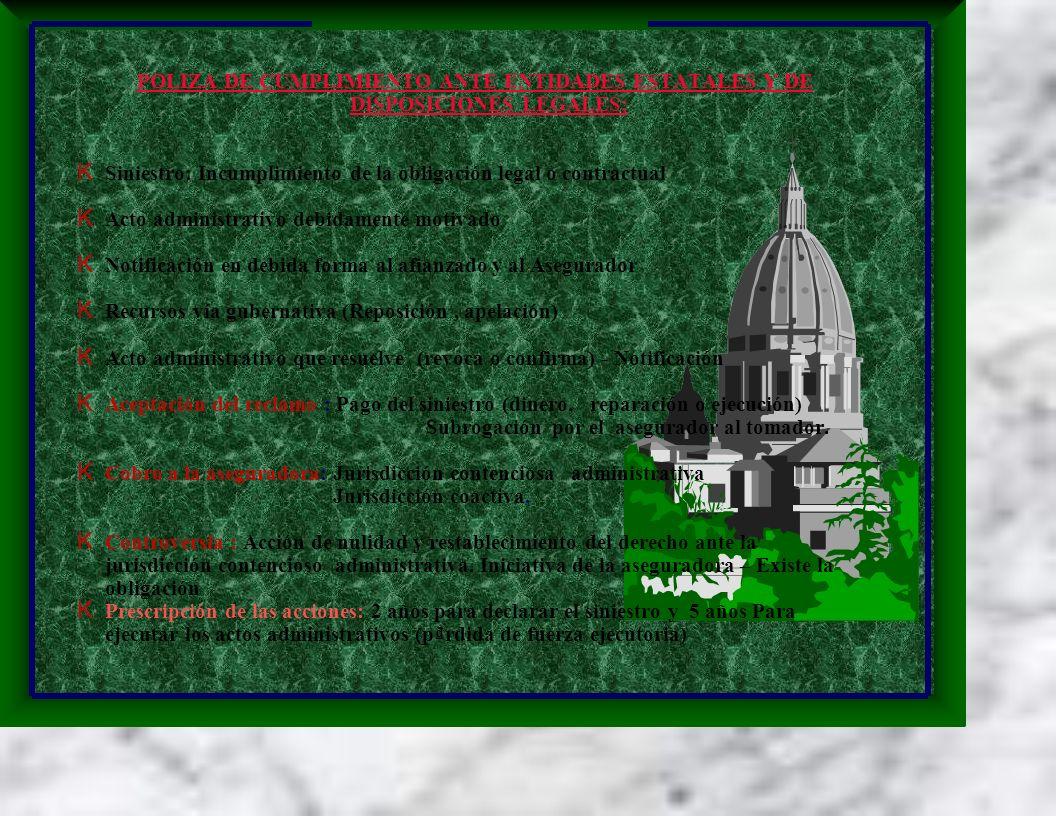 POLIZA DE CUMPLIMIENTO ANTE ENTIDADES ESTATALES Y DE DISPOSICIONES LEGALES: K Siniestro: Incumplimiento de la obligación legal o contractual K Acto administrativo debidamente motivado K Notificación en debida forma al afianzado y al Asegurador K Recursos vía gubernativa (Reposición, apelación) K Acto administrativo que resuelve (revoca o confirma) - Notificación K Aceptación del reclamo : Pago del siniestro (dinero, reparación o ejecución) Subrogación por el asegurador al tomador.