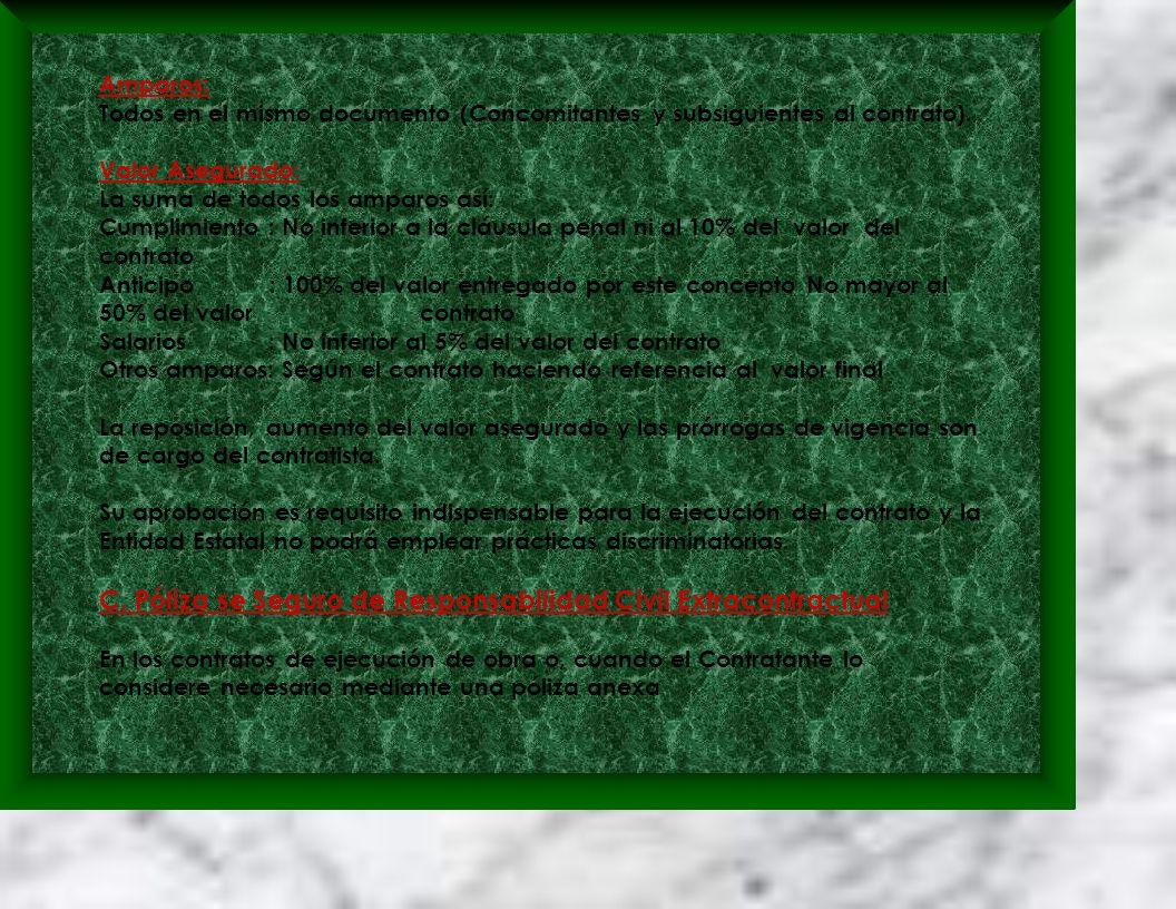 Amparos: Todos en el mismo documento (Concomitantes y subsiguientes al contrato).