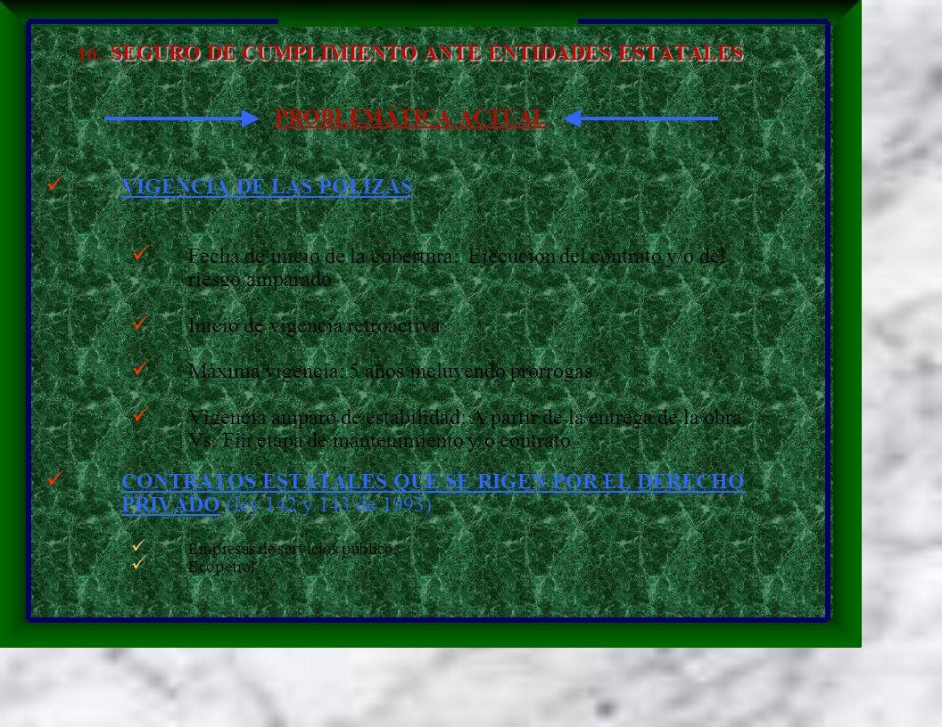 SEGURO DE CUMPLIMIENTO ANTE ENTIDADES ESTATALES 16. SEGURO DE CUMPLIMIENTO ANTE ENTIDADES ESTATALES PROBLEMÁTICA ACTUAL VIGENCIA DE LAS POLIZAS Fecha