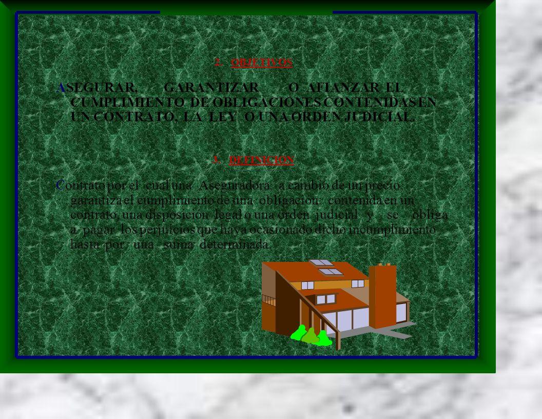 2. OBJETIVOS ASEGURAR, GARANTIZAR O AFIANZAR EL CUMPLIMIENTO DE OBLIGACIONES CONTENIDAS EN UN CONTRATO, LA LEY O UNA ORDEN JUDICIAL. 3. DEFINICION Con
