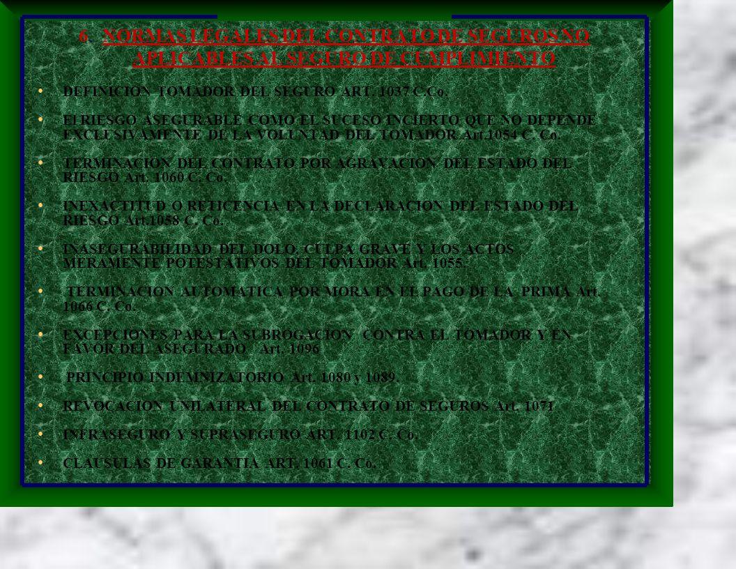 6. NORMAS LEGALES DEL CONTRATO DE SEGUROS NO APLICABLES AL SEGURO DE CUMPLIMIENTO DEFINICION TOMADOR DEL SEGURO ART. 1037 C.Co. El RIESGO ASEGURABLE C