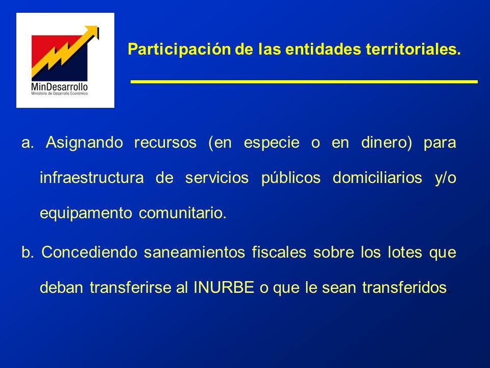 a. Asignando recursos (en especie o en dinero) para infraestructura de servicios públicos domiciliarios y/o equipamento comunitario. b. Concediendo sa