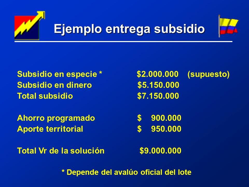 Ejemplo entrega subsidio Ejemplo entrega subsidio Subsidio en especie * $2.000.000 (supuesto) Subsidio en dinero $5.150.000 Total subsidio $7.150.000