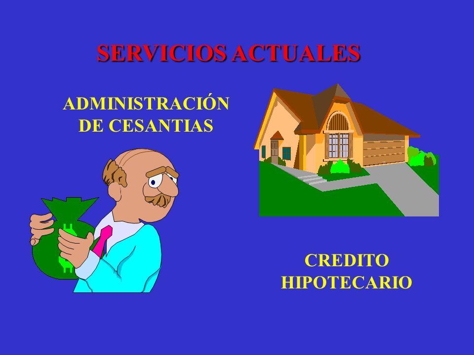 SERVICIOS ACTUALES ADMINISTRACIÓN DE CESANTIAS CREDITO HIPOTECARIO