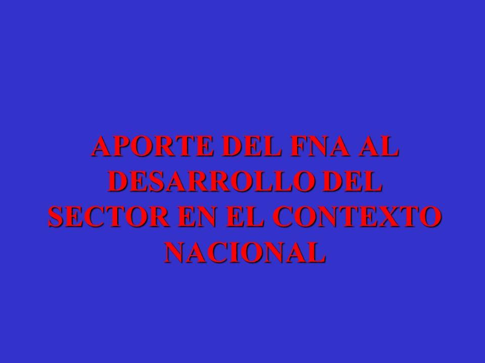APORTE DEL FNA AL DESARROLLO DEL SECTOR EN EL CONTEXTO NACIONAL