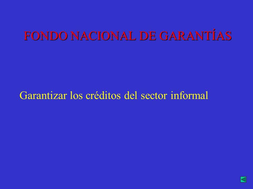 FONDO NACIONAL DE GARANTÍAS Garantizar los créditos del sector informal