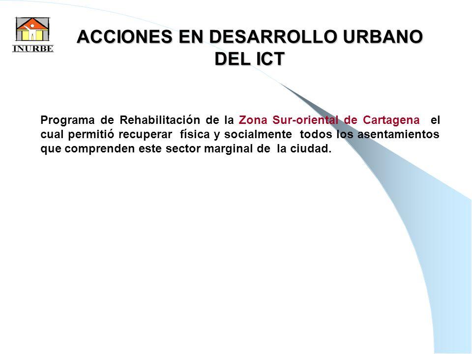 10 ACCIONES EN DESARROLLO URBANO DEL ICT Programa de Rehabilitación de la Zona Sur-oriental de Cartagena el cual permitió recuperar física y socialmen