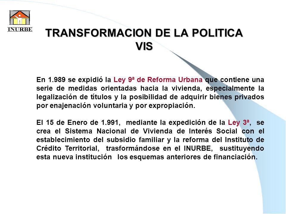 12 TRANSFORMACION DE LA POLITICA VIS En 1.989 se expidió la Ley 9ª de Reforma Urbana que contiene una serie de medidas orientadas hacia la vivienda, e