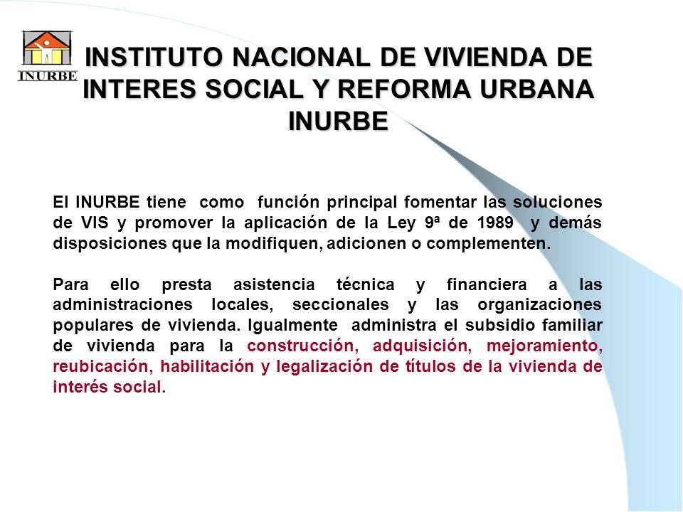 15 INSTITUTO NACIONAL DE VIVIENDA DE INTERES SOCIAL Y REFORMA URBANA INURBE El INURBE tiene como función principal fomentar las soluciones de VIS y pr