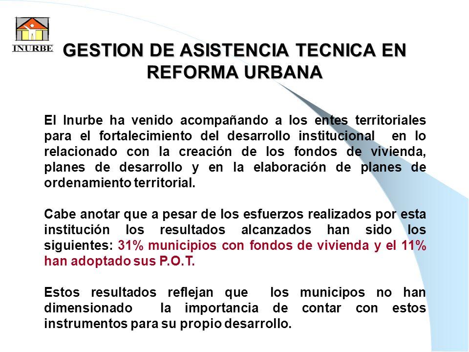 17 GESTION DE ASISTENCIA TECNICA EN REFORMA URBANA El Inurbe ha venido acompañando a los entes territoriales para el fortalecimiento del desarrollo in