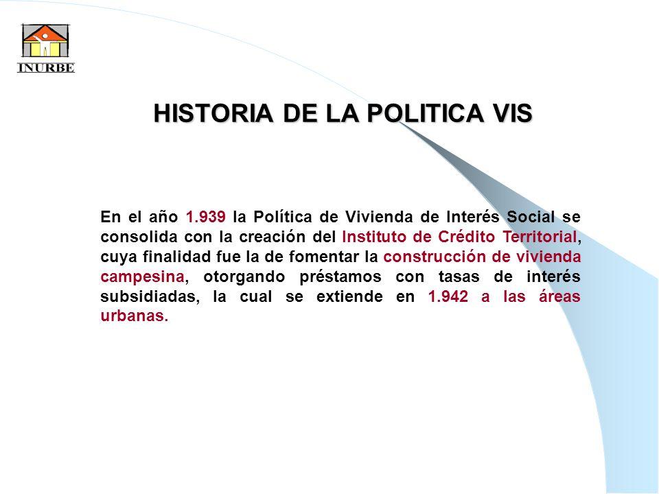 3 HISTORIA DE LA POLITICA VIS En el año 1.939 la Política de Vivienda de Interés Social se consolida con la creación del Instituto de Crédito Territor