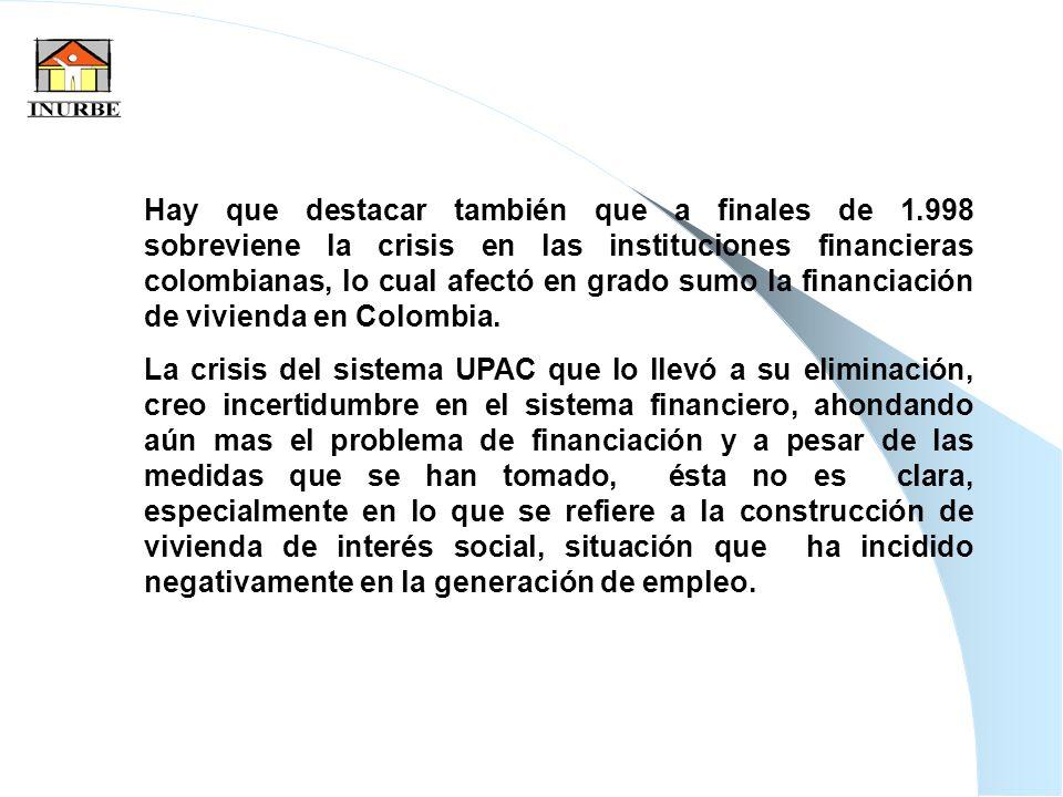 35 Hay que destacar también que a finales de 1.998 sobreviene la crisis en las instituciones financieras colombianas, lo cual afectó en grado sumo la