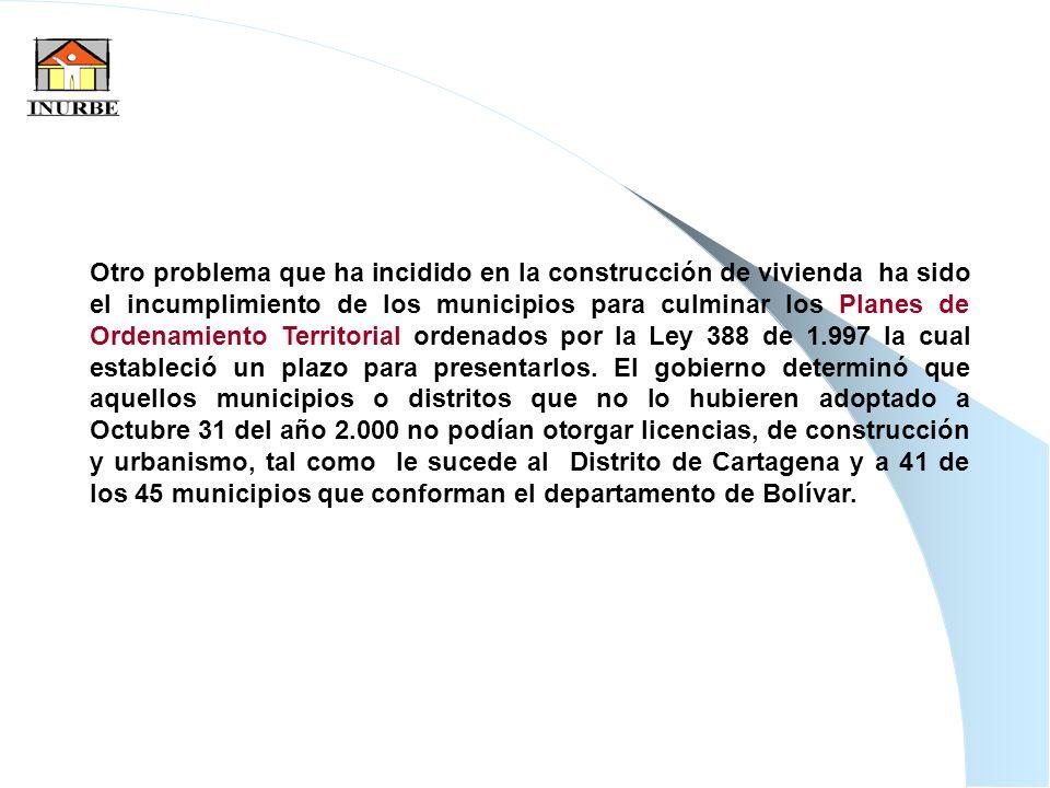 37 Otro problema que ha incidido en la construcción de vivienda ha sido el incumplimiento de los municipios para culminar los Planes de Ordenamiento T