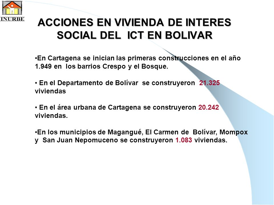 4 ACCIONES EN VIVIENDA DE INTERES SOCIAL DEL ICT EN BOLIVAR En Cartagena se inician las primeras construcciones en el año 1.949 en los barrios Crespo