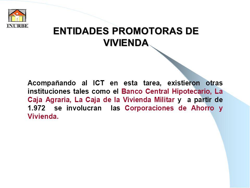 8 ENTIDADES PROMOTORAS DE VIVIENDA Acompañando al ICT en esta tarea, existieron otras instituciones tales como el Banco Central Hipotecario, La Caja A