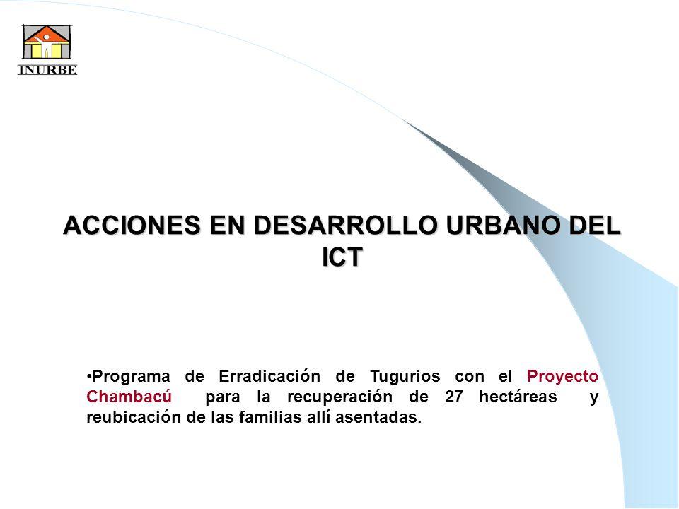 9 ACCIONES EN DESARROLLO URBANO DEL ICT Programa de Erradicación de Tugurios con el Proyecto Chambacú para la recuperación de 27 hectáreas y reubicaci