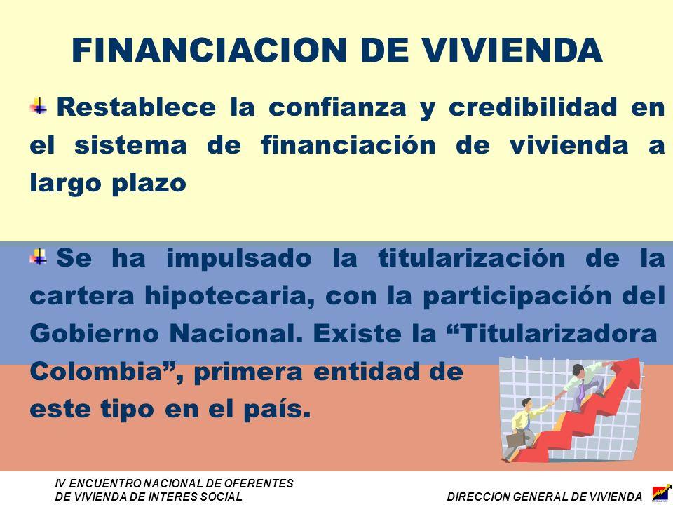 DIRECCION GENERAL DE VIVIENDA IV ENCUENTRO NACIONAL DE OFERENTES DE VIVIENDA DE INTERES SOCIAL FINANCIACION DE VIVIENDA Restablece la confianza y credibilidad en el sistema de financiación de vivienda a largo plazo Se ha impulsado la titularización de la cartera hipotecaria, con la participación del Gobierno Nacional.