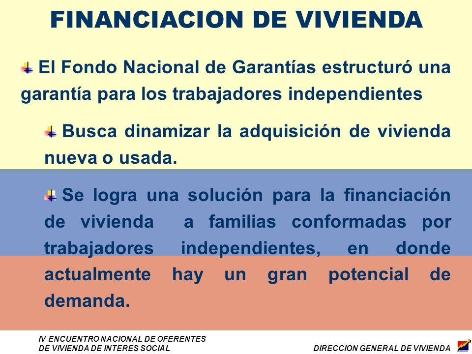 DIRECCION GENERAL DE VIVIENDA IV ENCUENTRO NACIONAL DE OFERENTES DE VIVIENDA DE INTERES SOCIAL El Fondo Nacional de Garantías estructuró una garantía para los trabajadores independientes Busca dinamizar la adquisición de vivienda nueva o usada.