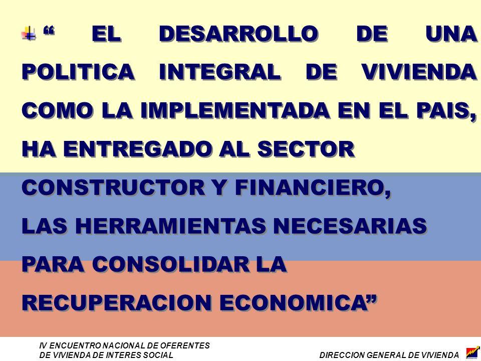 DIRECCION GENERAL DE VIVIENDA IV ENCUENTRO NACIONAL DE OFERENTES DE VIVIENDA DE INTERES SOCIAL EL DESARROLLO DE UNA POLITICA INTEGRAL DE VIVIENDA COMO LA IMPLEMENTADA EN EL PAIS, HA ENTREGADO AL SECTOR CONSTRUCTOR Y FINANCIERO, LAS HERRAMIENTAS NECESARIAS PARA CONSOLIDAR LA RECUPERACION ECONOMICA EL DESARROLLO DE UNA POLITICA INTEGRAL DE VIVIENDA COMO LA IMPLEMENTADA EN EL PAIS, HA ENTREGADO AL SECTOR CONSTRUCTOR Y FINANCIERO, LAS HERRAMIENTAS NECESARIAS PARA CONSOLIDAR LA RECUPERACION ECONOMICA