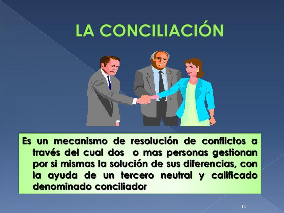 10 Es un mecanismo de resolución de conflictos a través del cual dos o mas personas gestionan por si mismas la solución de sus diferencias, con la ayu
