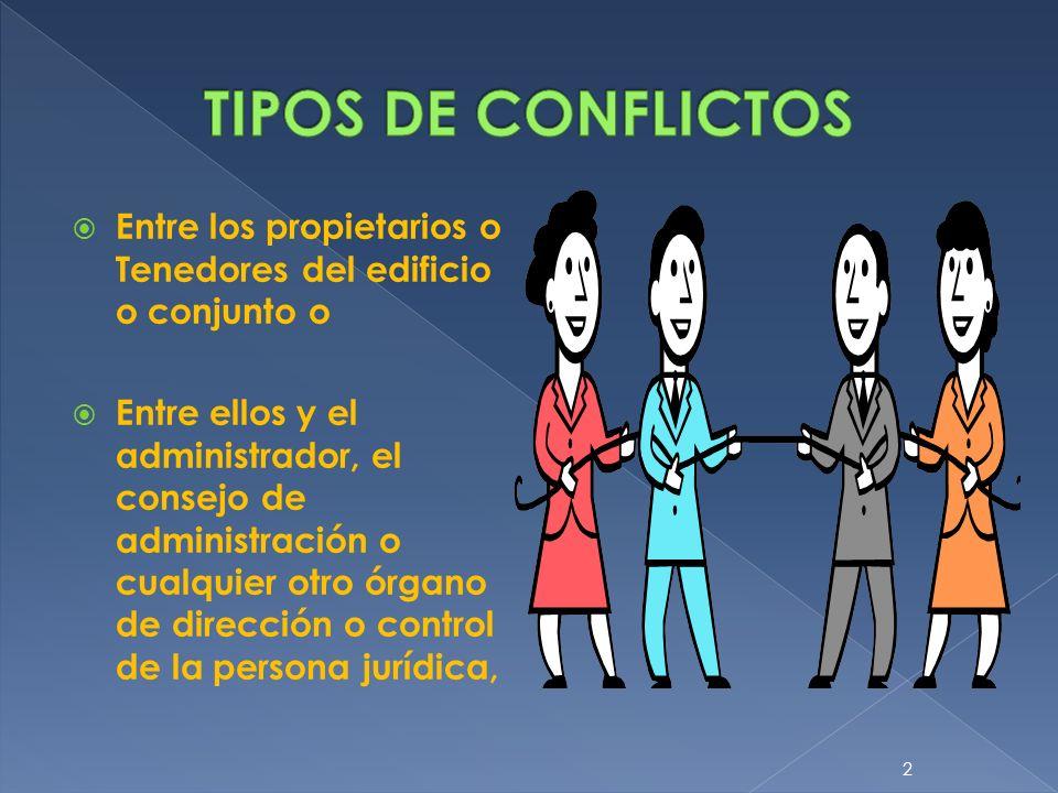 Entre los propietarios o Tenedores del edificio o conjunto o Entre ellos y el administrador, el consejo de administración o cualquier otro órgano de d