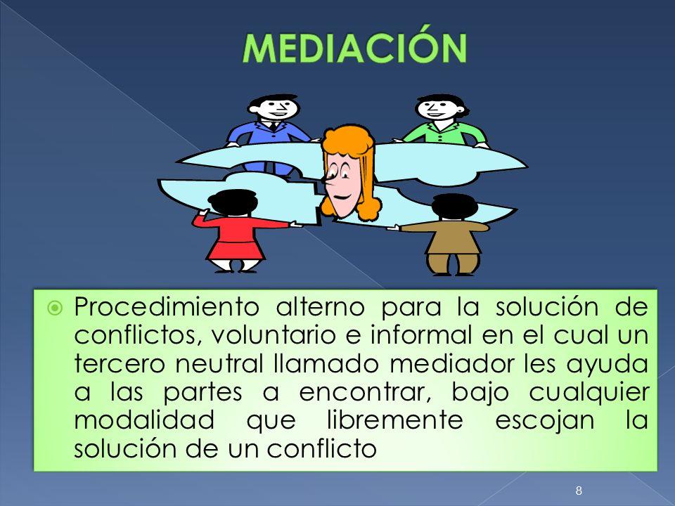 8 Procedimiento alterno para la solución de conflictos, voluntario e informal en el cual un tercero neutral llamado mediador les ayuda a las partes a
