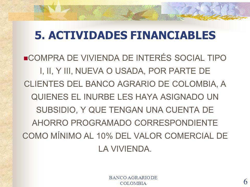 BANCO AGRARIO DE COLOMBIA 6 5. ACTIVIDADES FINANCIABLES COMPRA DE VIVIENDA DE INTERÉS SOCIAL TIPO I, II, Y III, NUEVA O USADA, POR PARTE DE CLIENTES D