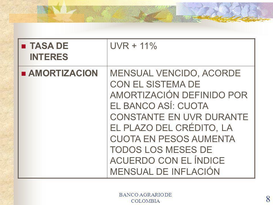 BANCO AGRARIO DE COLOMBIA 8 TASA DE INTERES UVR + 11% AMORTIZACIONMENSUAL VENCIDO, ACORDE CON EL SISTEMA DE AMORTIZACIÓN DEFINIDO POR EL BANCO ASÍ: CU