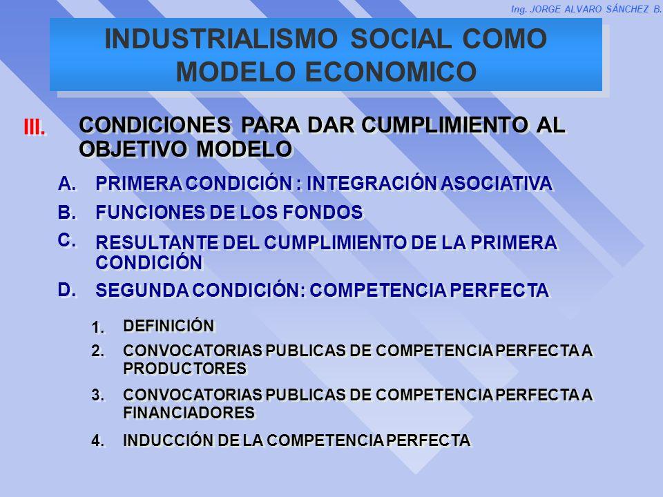 INDUSTRIALISMO SOCIAL COMO MODELO ECONOMICO Ing. JORGE ALVARO SÁNCHEZ B. 1. DEFINICIÓN D. SEGUNDA CONDICIÓN: COMPETENCIA PERFECTA 2. CONVOCATORIAS PUB