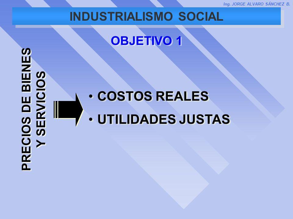 INDUSTRIALISMO SOCIAL OBJETIVO 1 COSTOS REALES UTILIDADES JUSTAS COSTOS REALES UTILIDADES JUSTAS PRECIOS DE BIENES Y SERVICIOS Ing. JORGE ALVARO SÁNCH